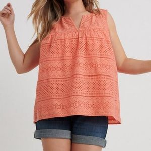 Lucky Brand Persimmon Eyelet Tank NWOT
